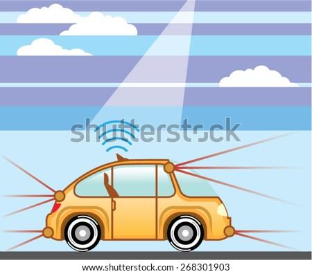Driverless Car . Self-driving car - stock vector