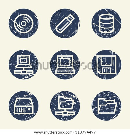 Drives and storage web icons, grunge circle buttons - stock vector