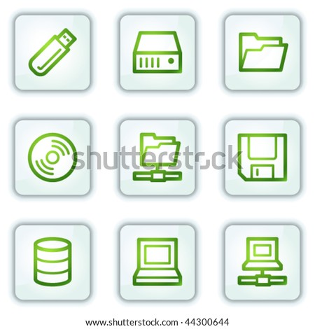 Drives and storage web icons, white square buttons series - stock vector