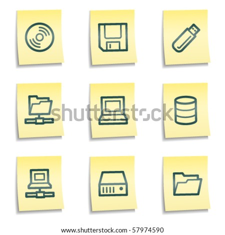 Drives and storage web icons, yellow notes series - stock vector