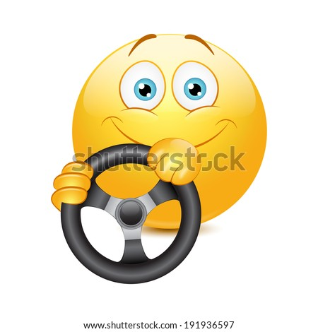 Driving emoticon on a white background. Vector. - stock vector