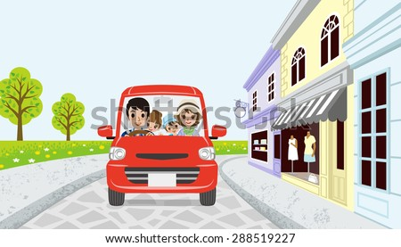 Driving Family in spring small town -EPS10 - stock vector