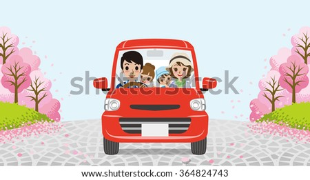 Driving  family - Row of cherry trees -EPS10 - stock vector