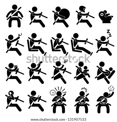 Driving Safety Guide Do and Don't Stick Figure Pictogram Icon - stock vector