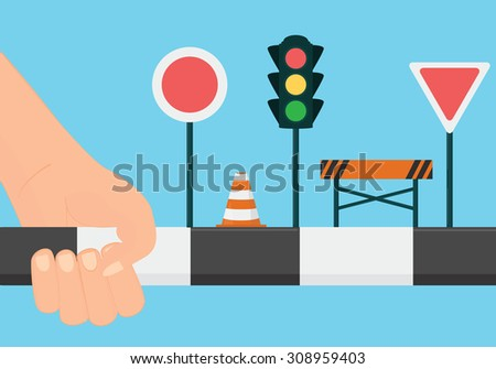 Driving school concept. Learn the road rules and signs vector illustration - stock vector