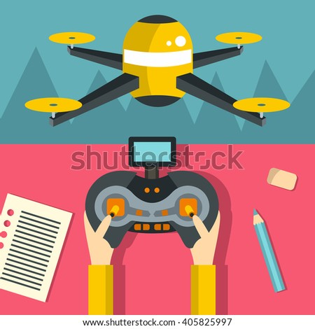 Drone flat. Drone illustration. Drone EPS. Drone JPG. Drone concept. Drone icons. Drone AI. Drone drawing. Drone design. Drone vector. Drone control. Drone banner. Drone flight. Drone spy. Drone robot - stock vector