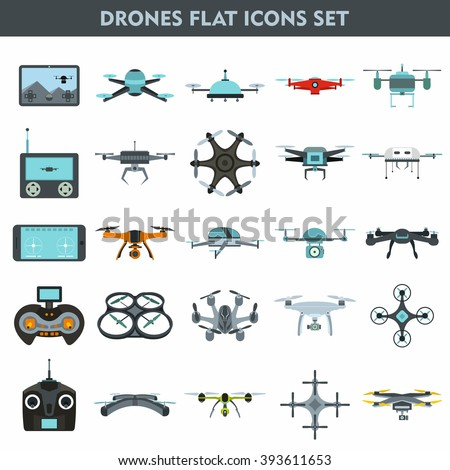 Drone flat set. Drone vector set. Drone graphic set. Drone picture set. Drone EPS set. Drone set art. Drone icon set. Drone set JPEG. Drone web set. Drone set. Drone flat icon. Drone flat graphic.  - stock vector
