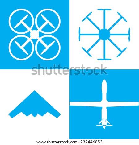 drone icon set - stock vector