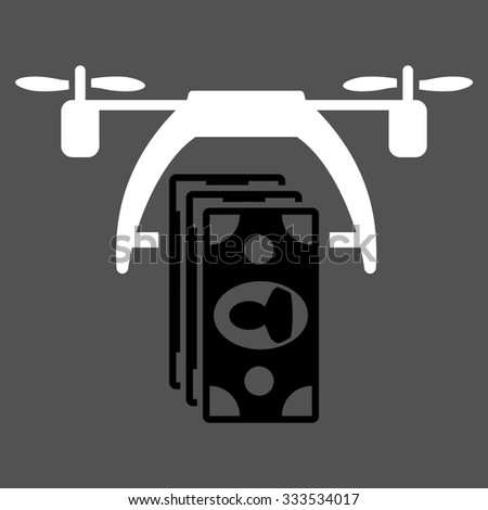 Drone Payment vector icon. Style is bicolor flat symbol, black and white colors, rounded angles, gray background. - stock vector