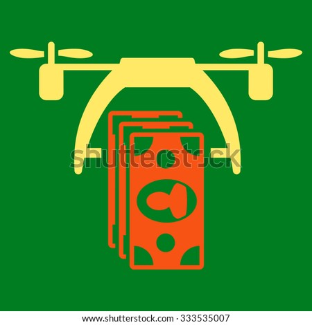 Drone Payment vector icon. Style is bicolor flat symbol, orange and yellow colors, rounded angles, green background. - stock vector