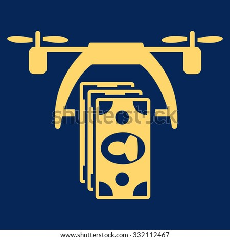 Drone Payment vector icon. Style is flat symbol, yellow color, rounded angles, blue background. - stock vector