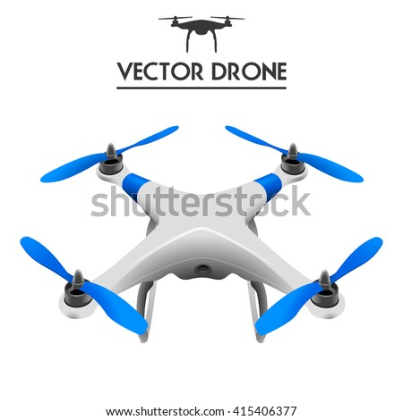 Drone, Quadrocopter UAV concept art, controlling by tablet isolated on white /  - stock vector