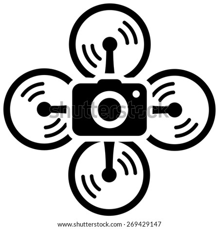 Drone spy camera. Black vector icon on a white background. - stock vector