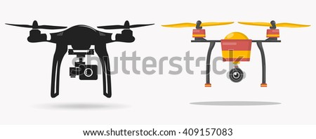 Drone with camera - stock vector
