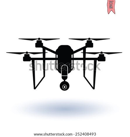 Drone with Camera icon, Vector.  - stock vector