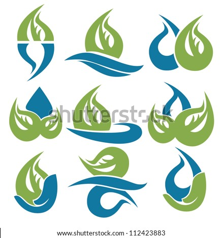drop and leaves vector collection of signs, symbols and icons - stock vector