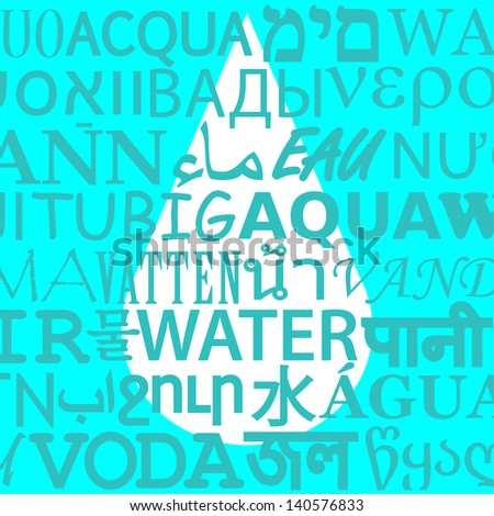 Drop Behind Different Translations of Water - stock vector