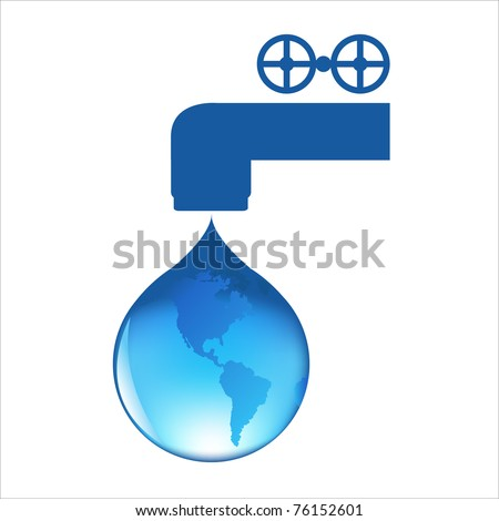 Drop Of Water With Globe, Isolated On White Background, Vector Illustration - stock vector