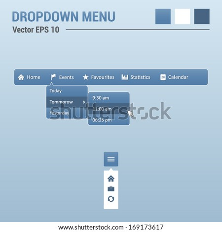 Dropdown horizontal menu - website elements - web design UI - stock vector