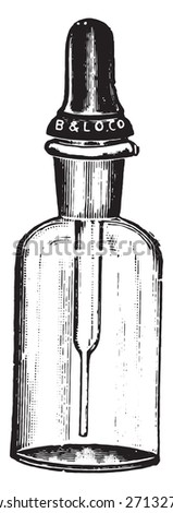 Dropping bottle with Barnes dropper, which closes the mouth of the bottle like a rubber stopper, vintage engraved illustration.  - stock vector