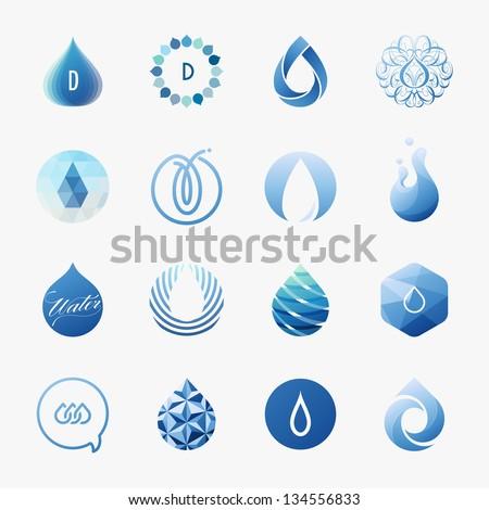 Drops. Set of vector design elements - stock vector