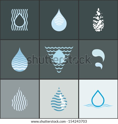 Drops with waves - icon set. Abstract design elements collection - stock vector
