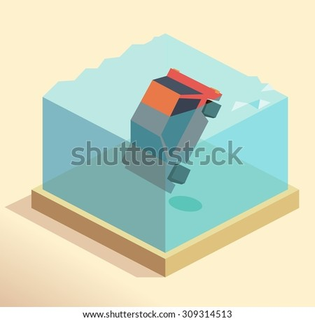 Drowning car claim. isometric art - stock vector