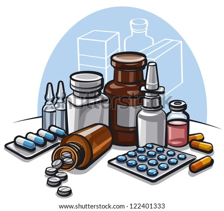 drugs and pills - stock vector