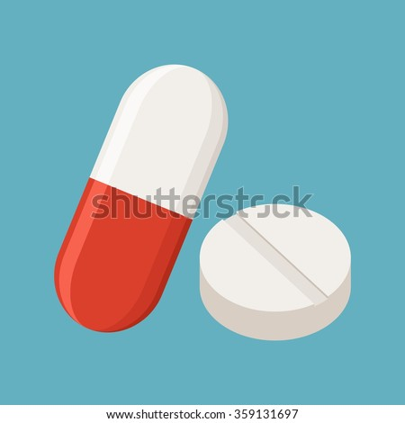 Drugs and Pills on blue background, Medical pill, Tablet symbol. Vector Illustration. - stock vector