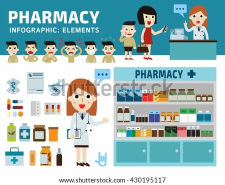 Drugs icons set isolated on white backgroundPills capsules and prescription bottles.Pharmacy drugstore.Infographic elements.Pharmacist and patient flat vector illustration.Wellness medical concept - stock vector