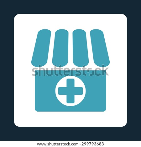 Drugstore icon. Vector style is blue and white colors, flat rounded square button on a dark blue background. - stock vector