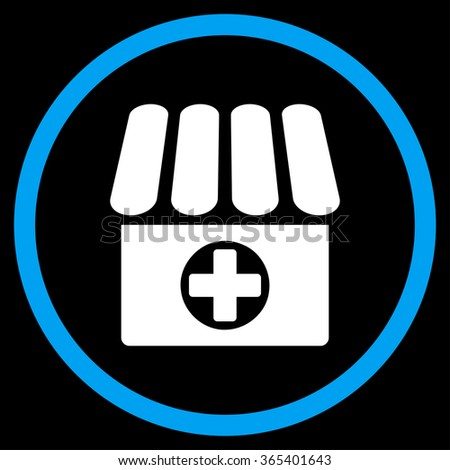 Drugstore vector icon. Style is bicolor flat circled symbol, blue and white colors, rounded angles, black background. - stock vector
