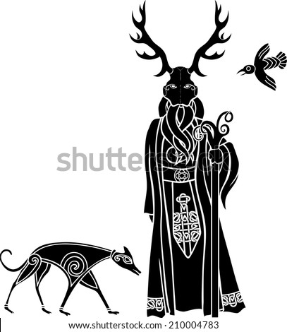 Druid with ritual mask, wolf and a bird, Celtic style - stock vector