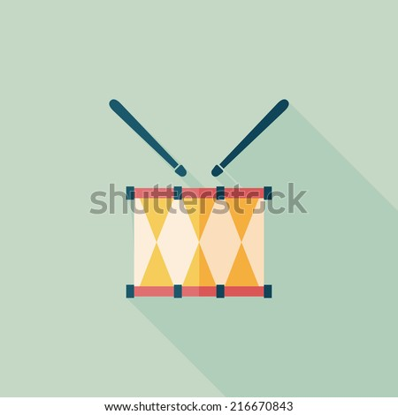 drum flat icon with long shadow,eps10 - stock vector