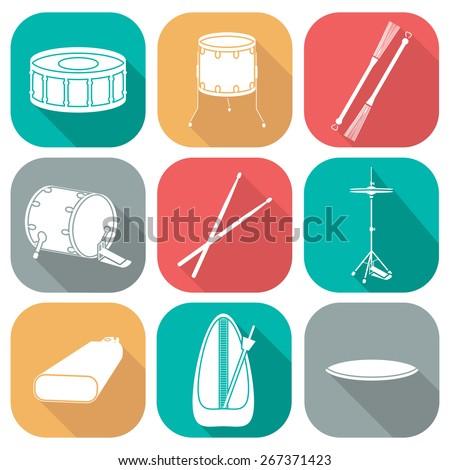 Drum icons 2. Silhouette. Flat design. vector illustration - stock vector