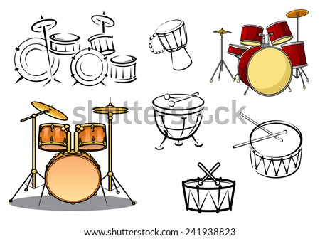 Drum plants, timpani, snare drum, bass drum and congas in cartoon and sketch style for percussion and music design - stock vector