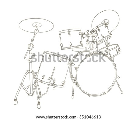 drum set drawing on white. vector - stock vector