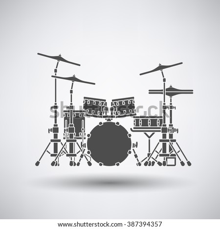Drum set icon on gray background with round shadow. Vector illustration. - stock vector
