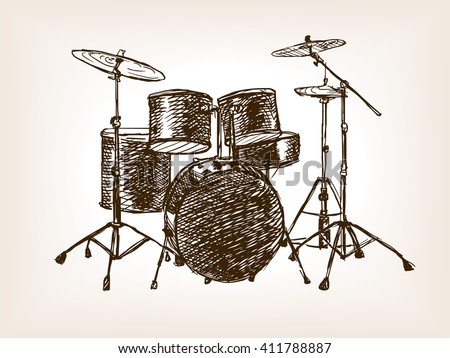 Drum set sketch style vector illustration. Old hand drawn engraving imitation. - stock vector