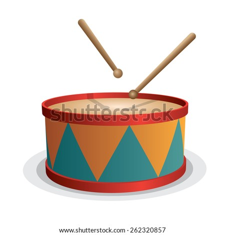 Drum vector isolated on white - stock vector
