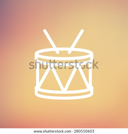 Drum with stick icon thin line for web and mobile, modern minimalistic flat design. Vector white icon on gradient mesh background. - stock vector