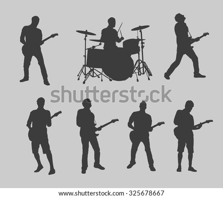Drummer and guitarman outlines - stock vector