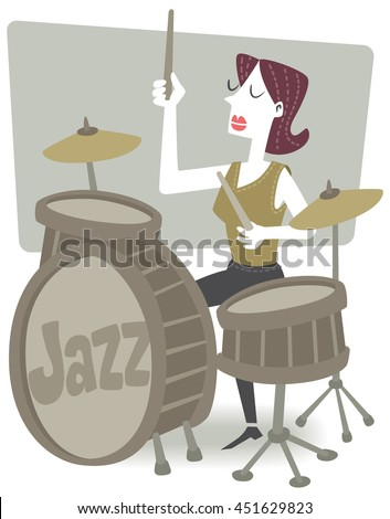 Drummer girl. Retro style illustration of a woman playing the drums. EPS10 file. - stock vector