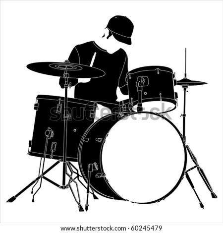 Drummer silhouette. - stock vector