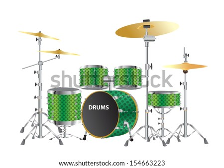drums kits vector images - stock vector