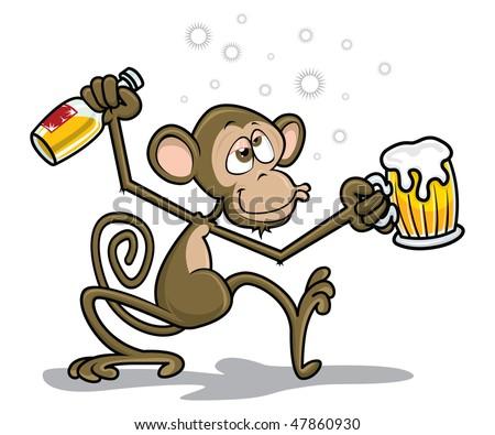 Drunk Monkey - stock vector