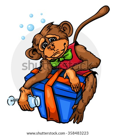 Drunk monkey with gift - stock vector