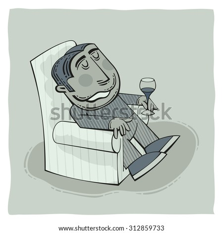Drunk old man is barely sitting in an armchair with a glass of wine in his hand and smiling happy - stock vector