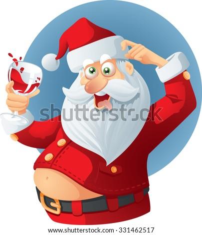 Drunk Santa Claus Vector Cartoon - Vector illustration of a celebrating Santa Claus holding a glass of wine  - stock vector