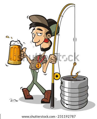 Drunken fisherman - stock vector